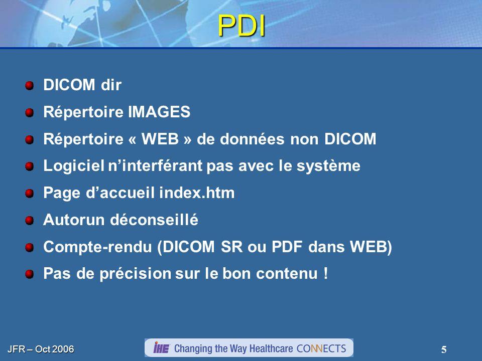 JFR – Oct 2006 5 PDI DICOM dir Répertoire IMAGES Répertoire « WEB » de données non DICOM Logiciel ninterférant pas avec le système Page daccueil index