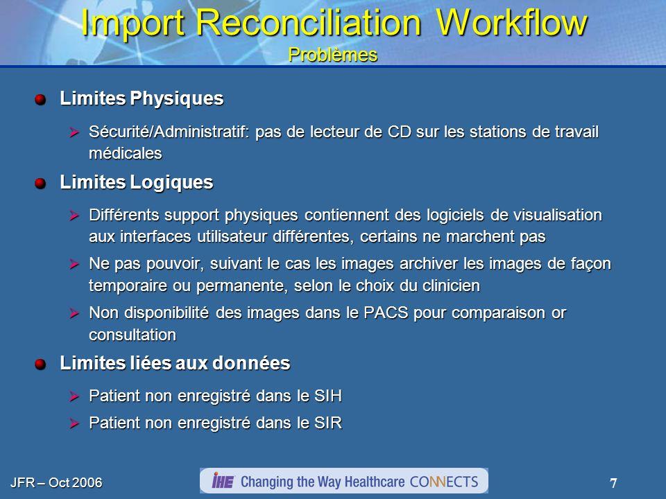 JFR – Oct 2006 7 Import Reconciliation Workflow Problèmes Limites Physiques Sécurité/Administratif: pas de lecteur de CD sur les stations de travail m