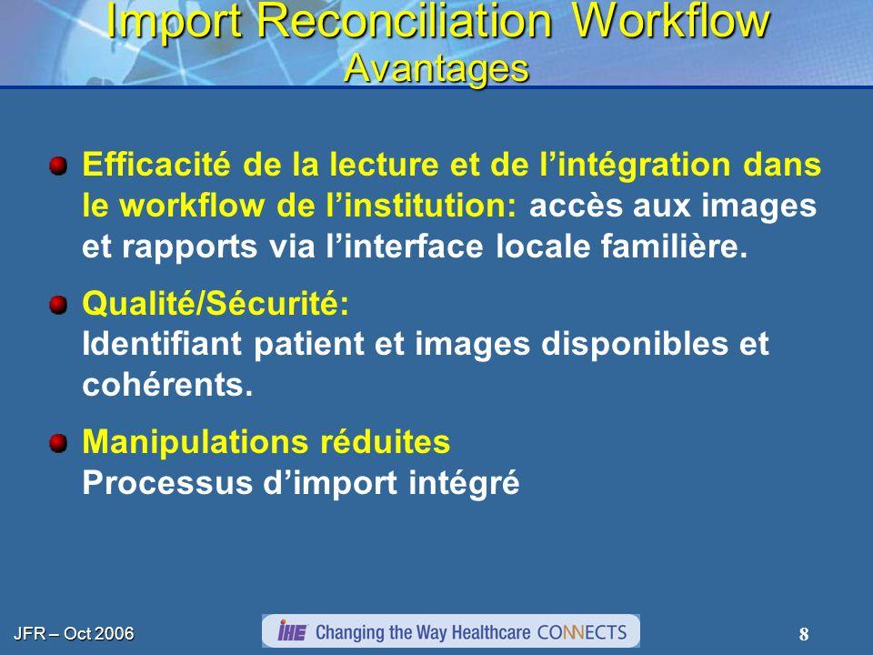 JFR – Oct 2006 8 Import Reconciliation Workflow Avantages Efficacité de la lecture et de lintégration dans le workflow de linstitution: accès aux imag