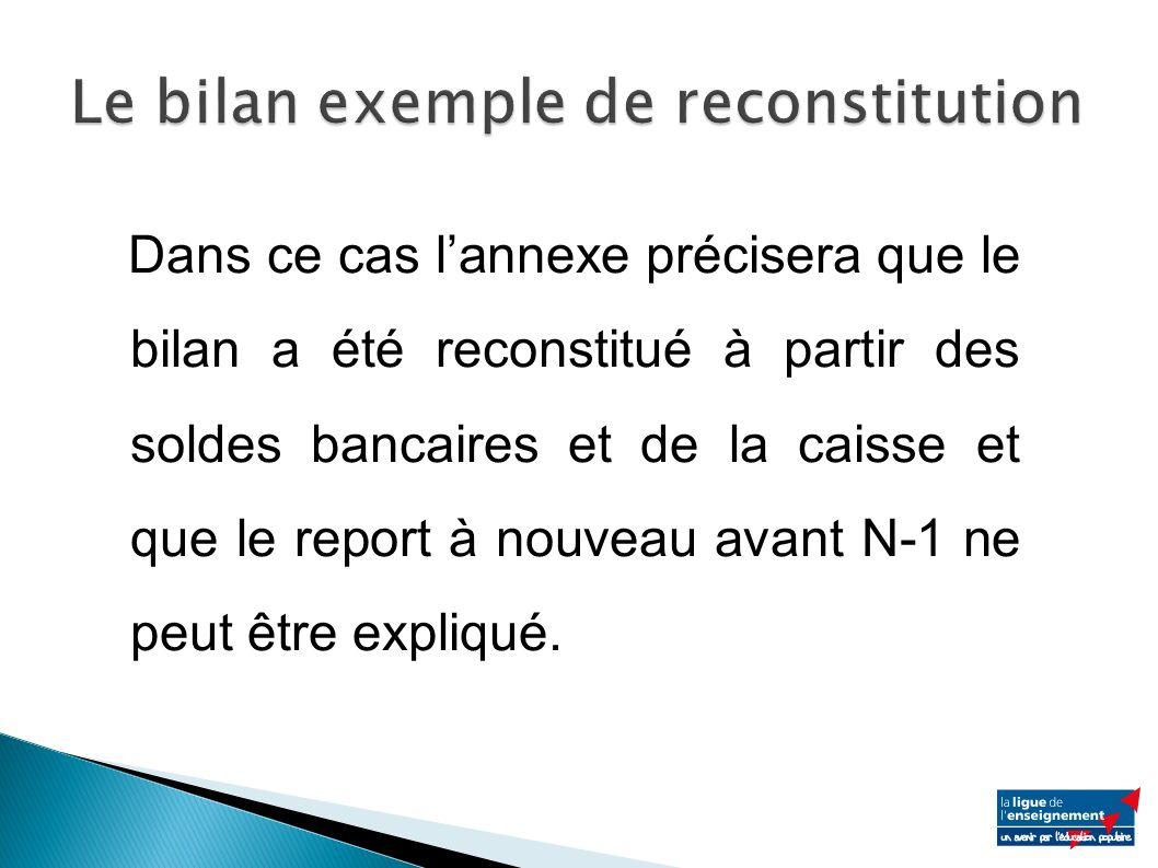 Dans ce cas lannexe précisera que le bilan a été reconstitué à partir des soldes bancaires et de la caisse et que le report à nouveau avant N-1 ne peut être expliqué.