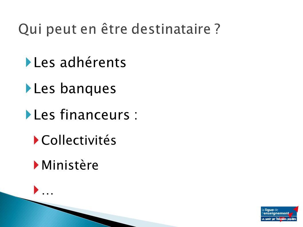 Les adhérents Les banques Les financeurs : Collectivités Ministère …
