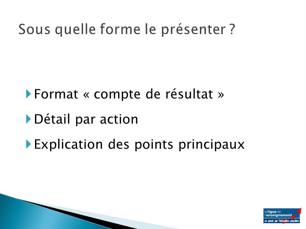 Format « compte de résultat » Détail par action Explication des points principaux