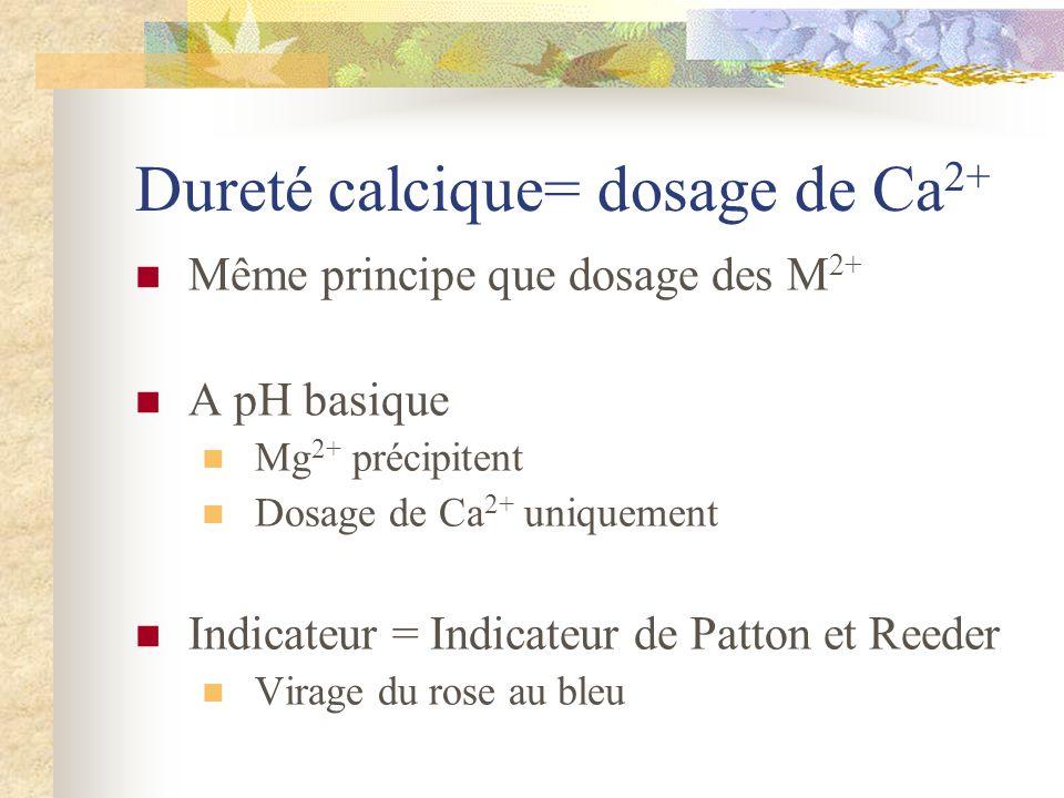 Dureté calcique= dosage de Ca 2+ Même principe que dosage des M 2+ A pH basique Mg 2+ précipitent Dosage de Ca 2+ uniquement Indicateur = Indicateur d