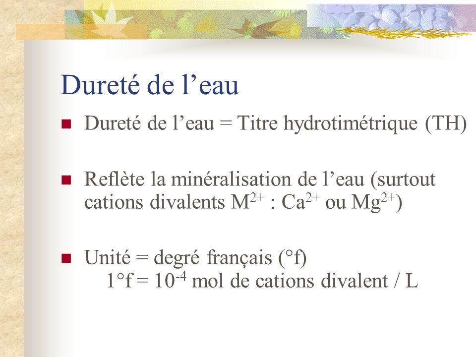 Dureté de leau Dureté de leau = Titre hydrotimétrique (TH) Reflète la minéralisation de leau (surtout cations divalents M 2+ : Ca 2+ ou Mg 2+ ) Unité = degré français (°f) 1°f = 10 -4 mol de cations divalent / L