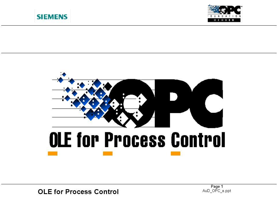 OLE for Process Control Page 12 AuD_OPC_e.ppt Produits SIMATIC et OPC SIMATIC NET Communication SIMATIC PC-based Control OPC Server WinAC OPC Server DP Protocol S7 Functions OPC Server WinCC OPC Client SIMATIC HMI MS Office 97 OPC Clients WinCC OPC Client SIMATIC NET OPC Manager