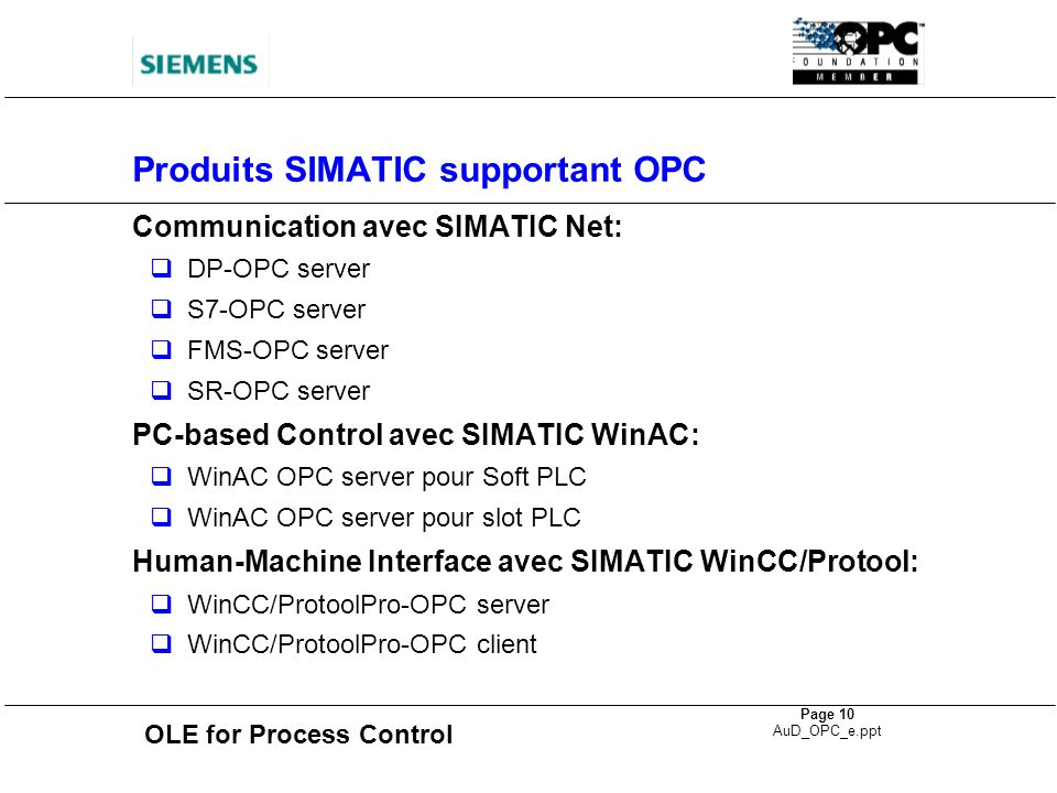 OLE for Process Control Page 10 AuD_OPC_e.ppt Produits SIMATIC supportant OPC Communication avec SIMATIC Net: DP-OPC server S7-OPC server FMS-OPC serv