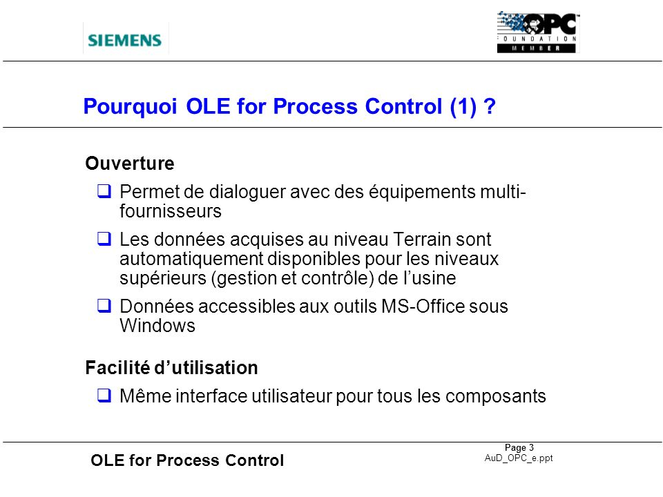 OLE for Process Control Page 14 AuD_OPC_e.ppt Communication SIMATIC NET OPC Server SIMATIC S7 * DP only PROFIBUS SIMATIC S5* SIMATIC S7 ET 200* PC / Windows NT/2000 MS Office 97 OPC Clients DP-OPC Server DP Protocol WinCC OPC Client Industrial Ethernet SIMATIC NET OPC Manager S7-OPC Server S7 Functions
