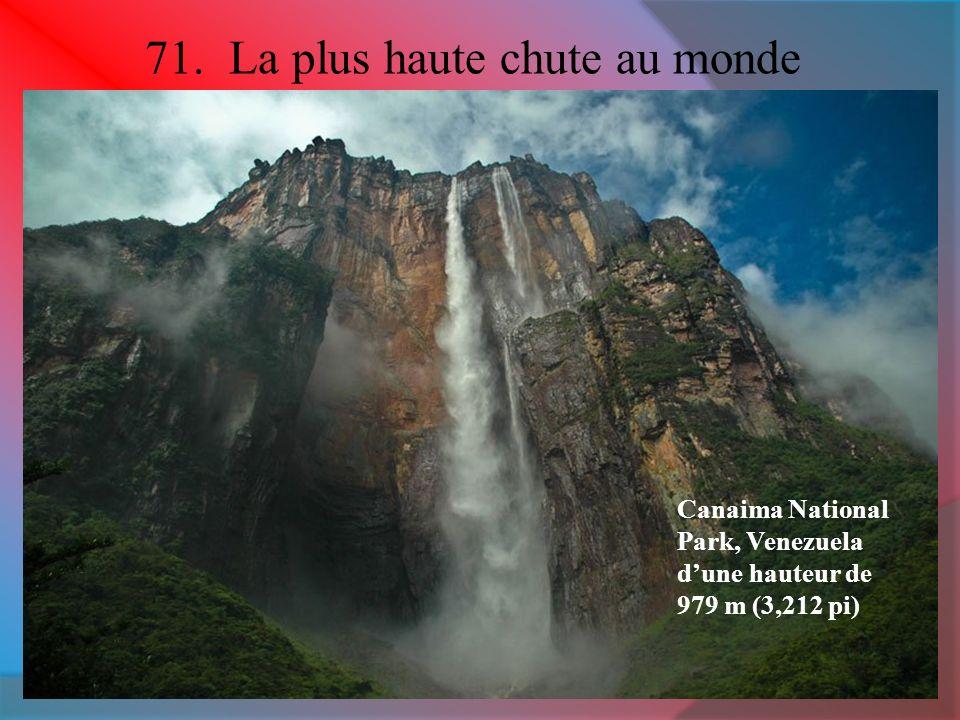 71. La plus haute chute au monde Canaima National Park, Venezuela dune hauteur de 979 m (3,212 pi)