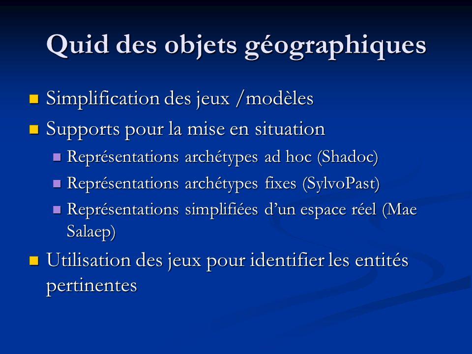 Quid des objets géographiques Simplification des jeux /modèles Simplification des jeux /modèles Supports pour la mise en situation Supports pour la mise en situation Représentations archétypes ad hoc (Shadoc) Représentations archétypes ad hoc (Shadoc) Représentations archétypes fixes (SylvoPast) Représentations archétypes fixes (SylvoPast) Représentations simplifiées dun espace réel (Mae Salaep) Représentations simplifiées dun espace réel (Mae Salaep) Utilisation des jeux pour identifier les entités pertinentes Utilisation des jeux pour identifier les entités pertinentes