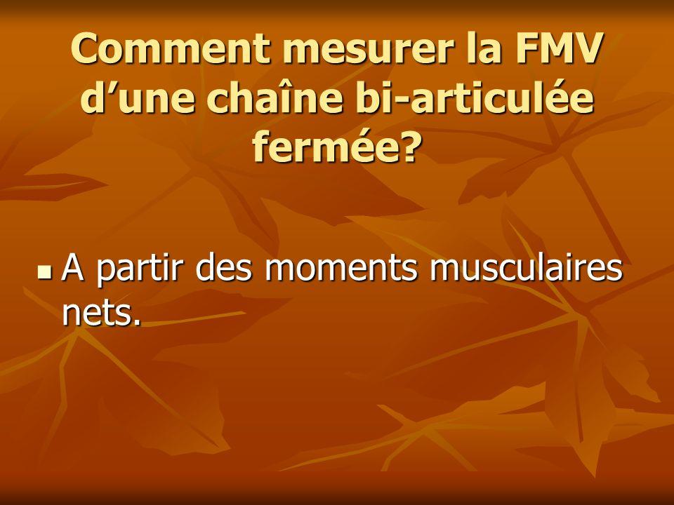 Comment mesurer la FMV dune chaîne bi-articulée fermée? A partir des moments musculaires nets. A partir des moments musculaires nets.