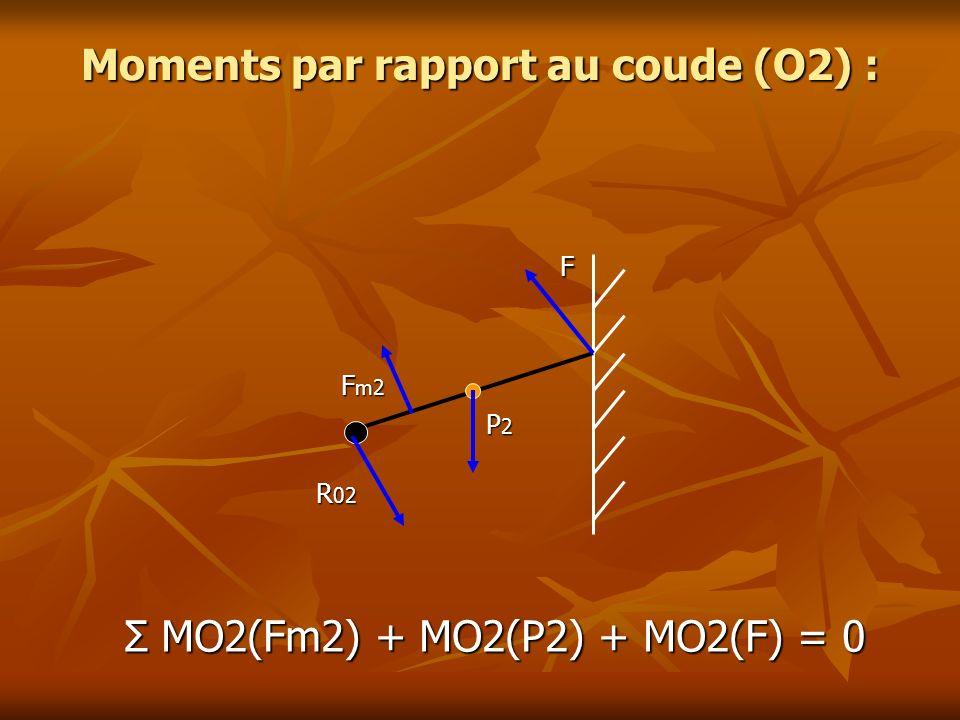 Moments par rapport au coude (O2) : F F F m2 F m2 P 2 P 2 R 02 R 02 Σ MO2(Fm2) + MO2(P2) + MO2(F) = 0