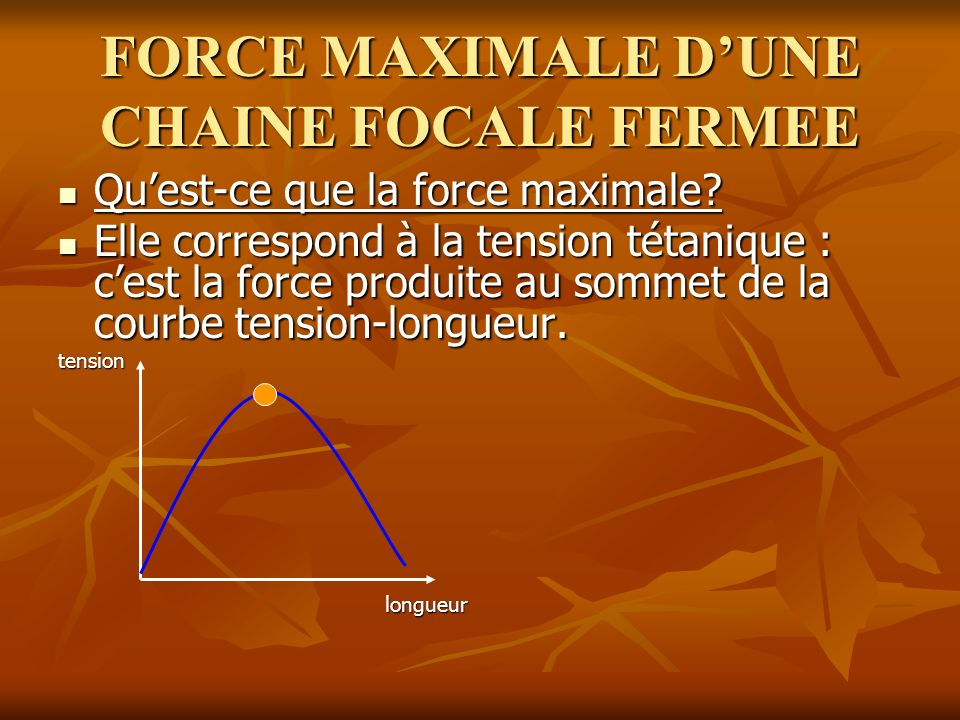 FORCE MAXIMALE DUNE CHAINE FOCALE FERMEE Quest-ce que la force maximale.