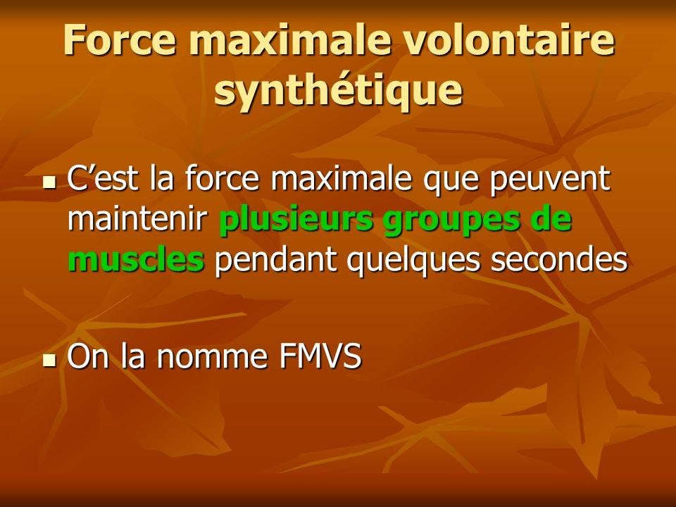 Force maximale volontaire synthétique Cest la force maximale que peuvent maintenir plusieurs groupes de muscles pendant quelques secondes Cest la forc