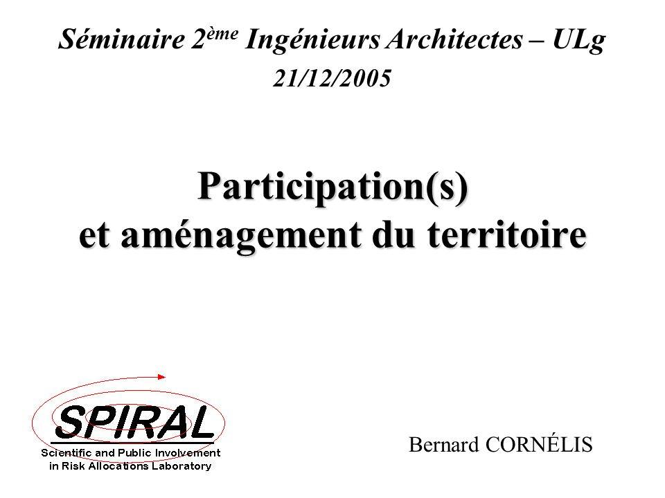 B. Cornélis (2005) Participation(s) et aménagement du territoire Participation(s) et aménagement du territoire Bernard CORNÉLIS Séminaire 2 ème Ingéni