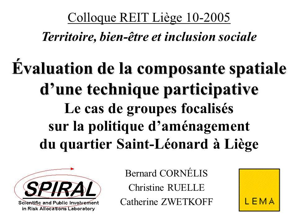B. Cornélis (2005) Participation(s) et aménagement du territoire Bernard CORNÉLIS Christine RUELLE Catherine ZWETKOFF Colloque REIT Liège 10-2005 Terr