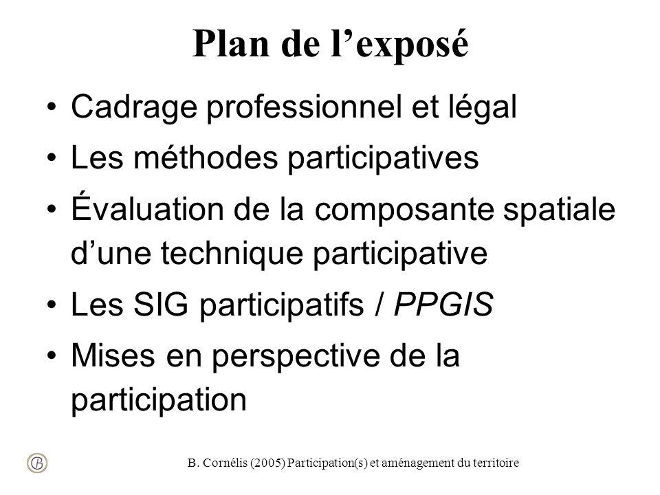 B. Cornélis (2005) Participation(s) et aménagement du territoire Plan de lexposé Cadrage professionnel et légal Les méthodes participatives Évaluation
