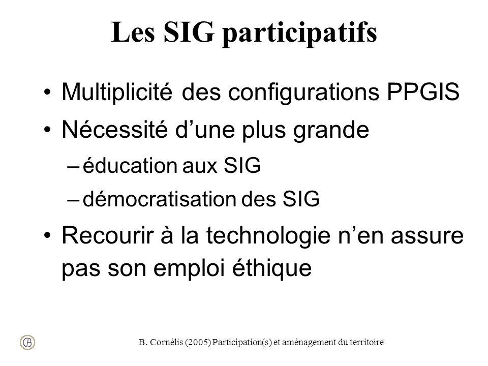 B. Cornélis (2005) Participation(s) et aménagement du territoire Les SIG participatifs Multiplicité des configurations PPGIS Nécessité dune plus grand