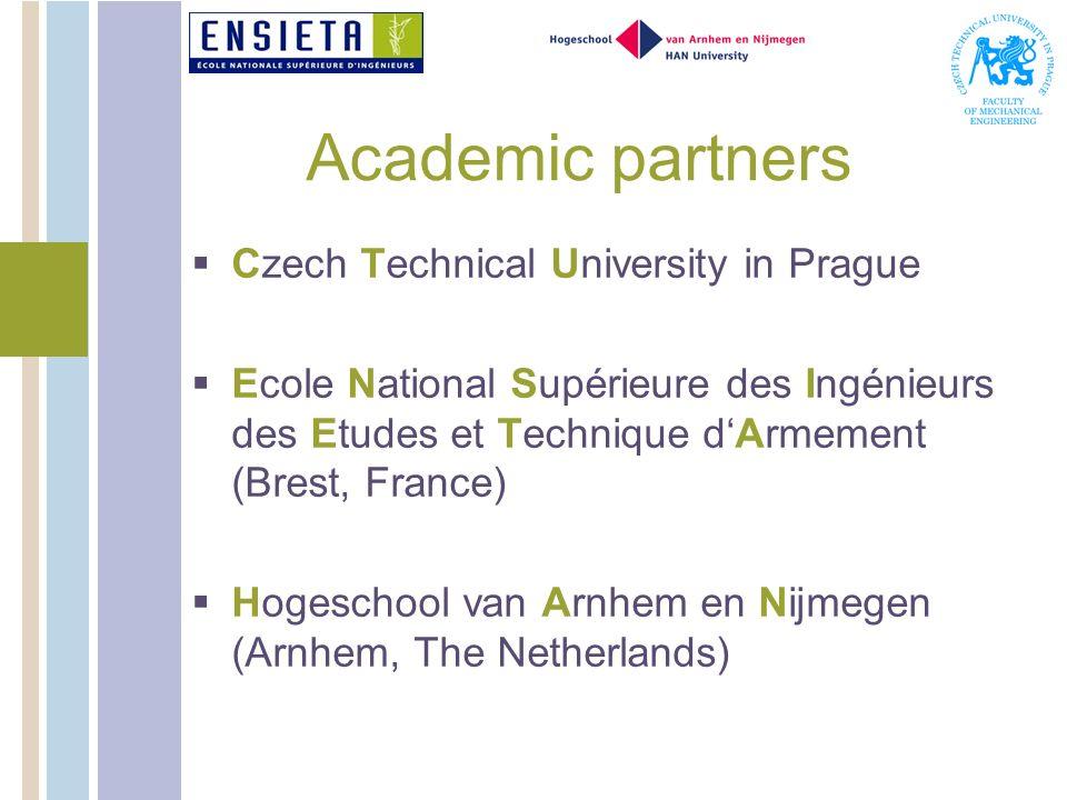 Academic partners Czech Technical University in Prague Ecole National Supérieure des Ingénieurs des Etudes et Technique dArmement (Brest, France) Hogeschool van Arnhem en Nijmegen (Arnhem, The Netherlands)