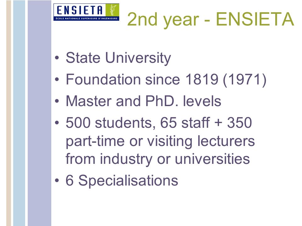 2nd year - ENSIETA State University Foundation since 1819 (1971) Master and PhD. levels 500 students, 65 staff + 350 part-time or visiting lecturers f