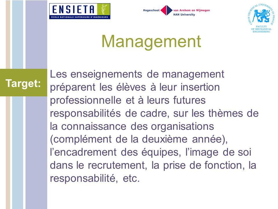 Management Les enseignements de management préparent les élèves à leur insertion professionnelle et à leurs futures responsabilités de cadre, sur les thèmes de la connaissance des organisations (complément de la deuxième année), lencadrement des équipes, limage de soi dans le recrutement, la prise de fonction, la responsabilité, etc.