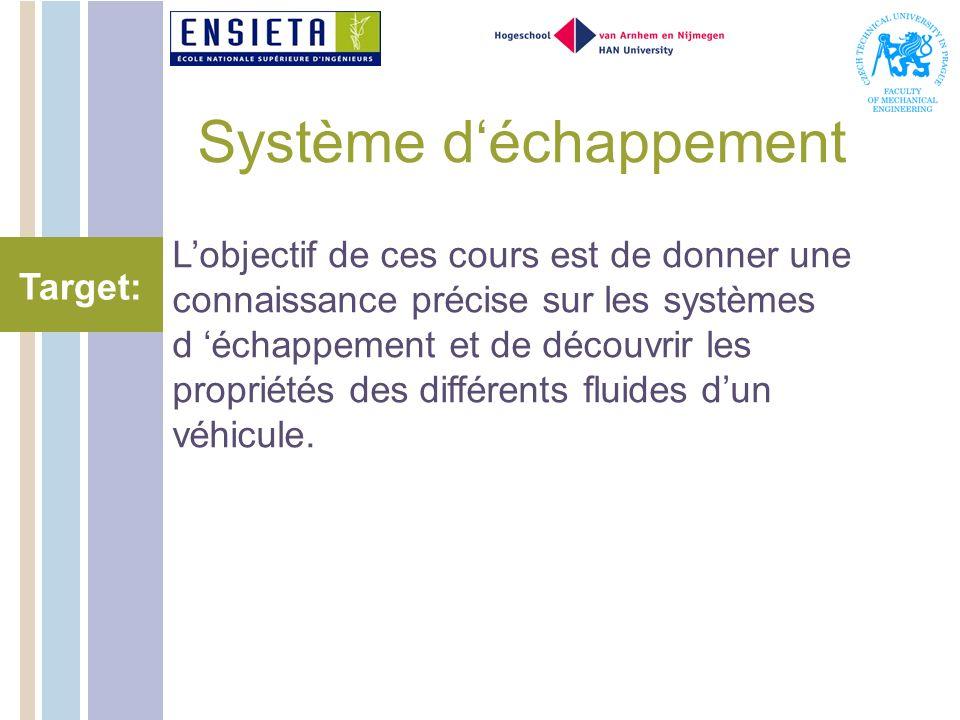 Système déchappement Lobjectif de ces cours est de donner une connaissance précise sur les systèmes d échappement et de découvrir les propriétés des différents fluides dun véhicule.