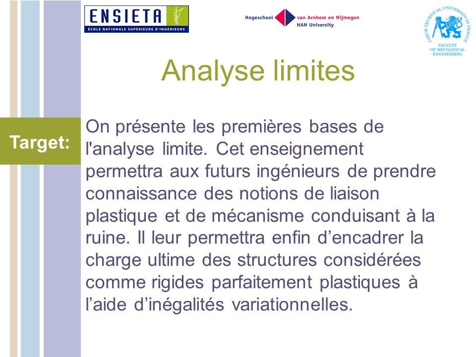 Analyse limites On présente les premières bases de l analyse limite.