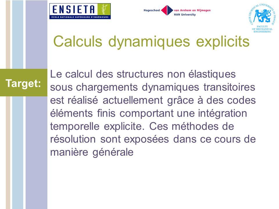 Calculs dynamiques explicits Le calcul des structures non élastiques sous chargements dynamiques transitoires est réalisé actuellement grâce à des codes éléments finis comportant une intégration temporelle explicite.