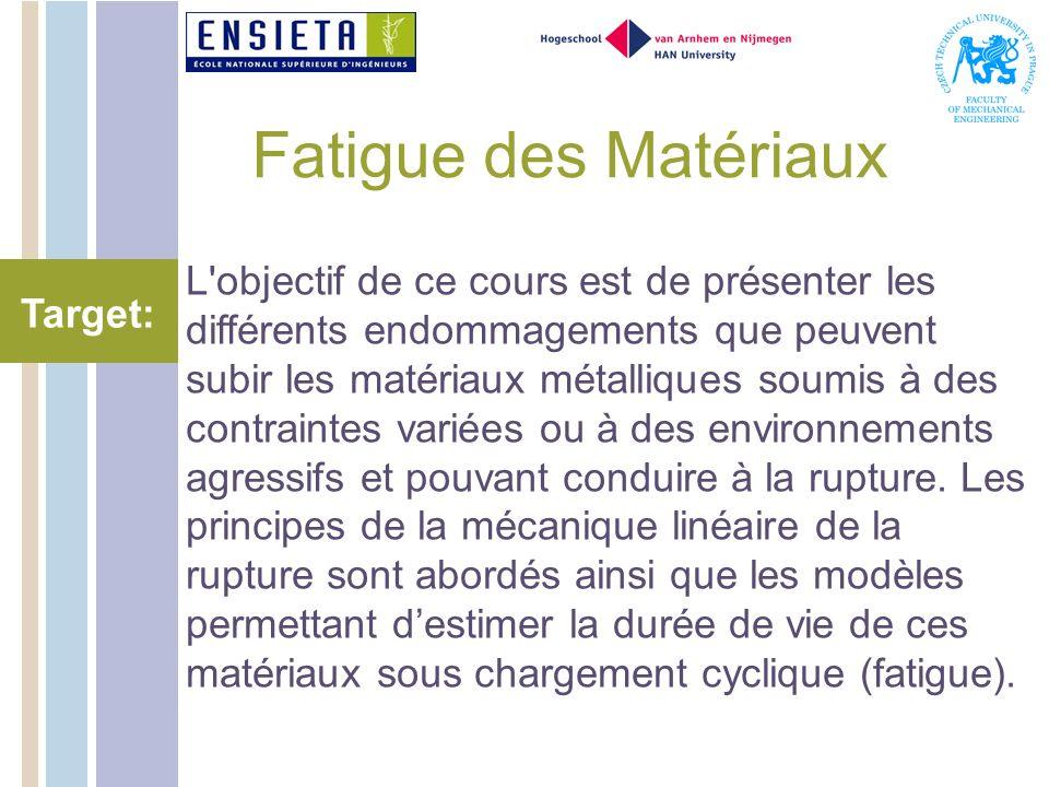 Fatigue des Matériaux L objectif de ce cours est de présenter les différents endommagements que peuvent subir les matériaux métalliques soumis à des contraintes variées ou à des environnements agressifs et pouvant conduire à la rupture.