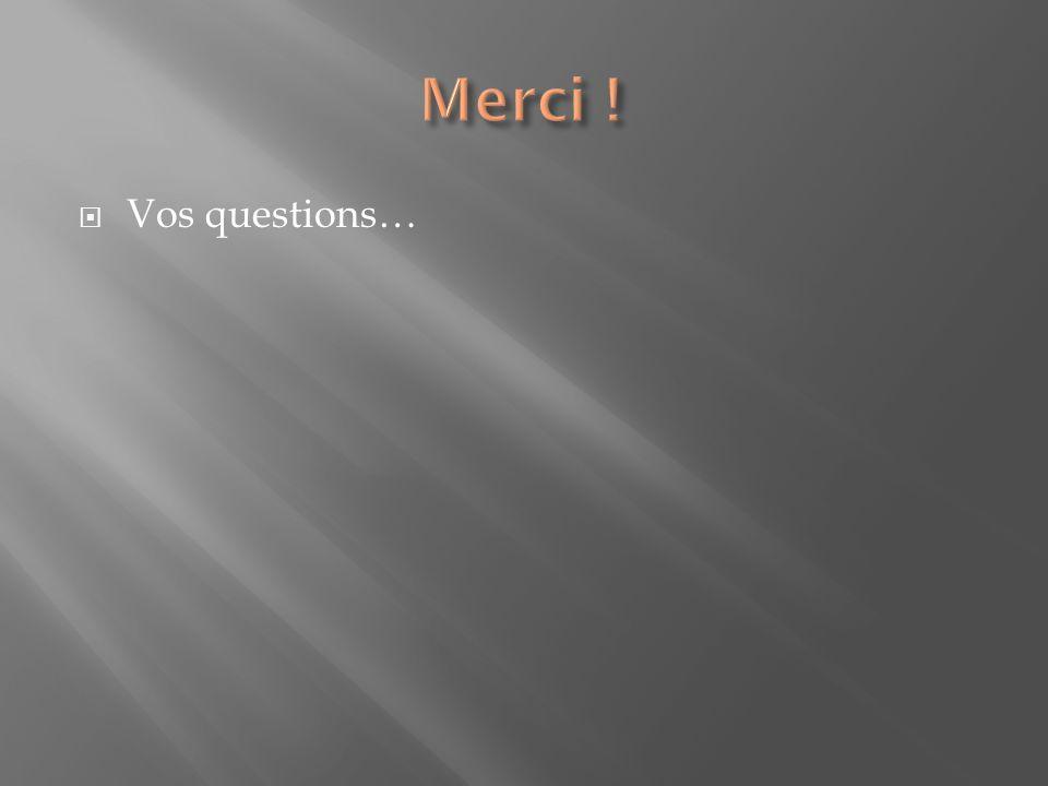 Vos questions…