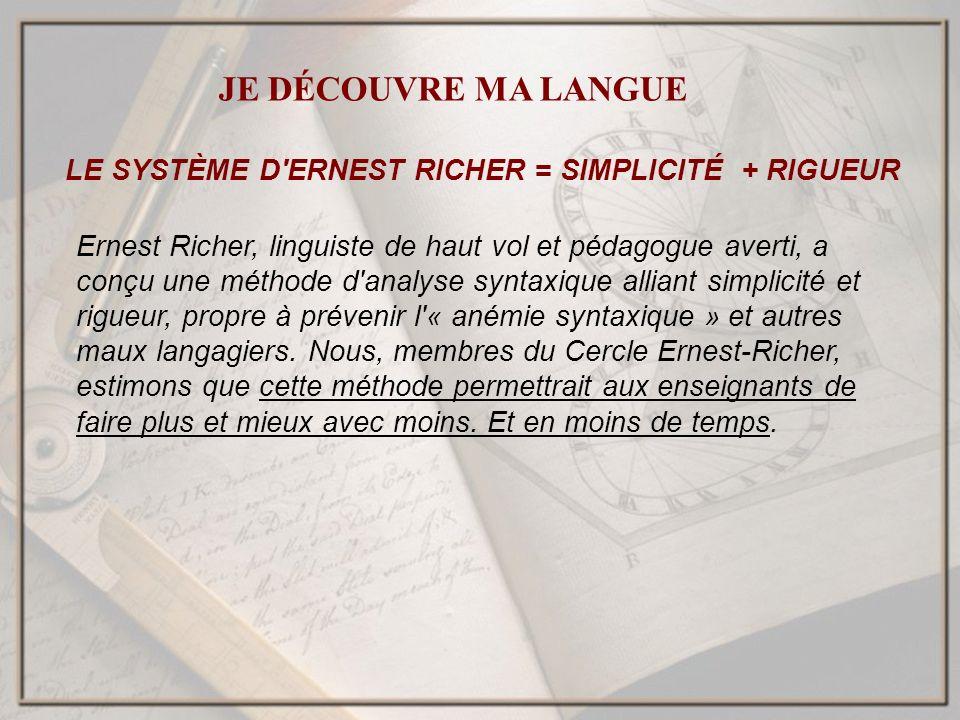 LE SYSTÈME D'ERNEST RICHER = SIMPLICITÉ + RIGUEUR Ernest Richer, linguiste de haut vol et pédagogue averti, a conçu une méthode d'analyse syntaxique a
