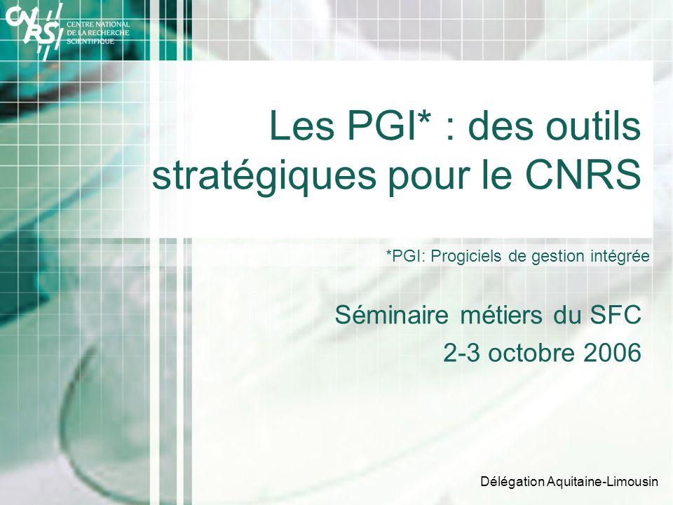 Délégation Aquitaine-Limousin Les PGI* : des outils stratégiques pour le CNRS Séminaire métiers du SFC 2-3 octobre 2006 *PGI: Progiciels de gestion intégrée