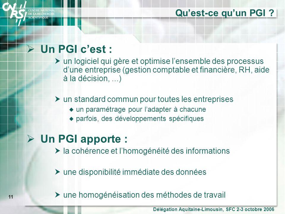 11 Délégation Aquitaine-Limousin, SFC 2-3 octobre 2006 Quest-ce quun PGI .