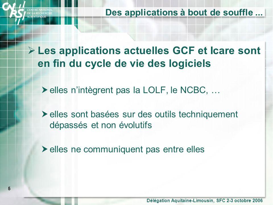 6 Délégation Aquitaine-Limousin, SFC 2-3 octobre 2006 … qui négligent le pilotage et aide à la décision Le CNRS doit se doter doutils permettant la mise en œuvre et le suivi de ses choix stratégiques.