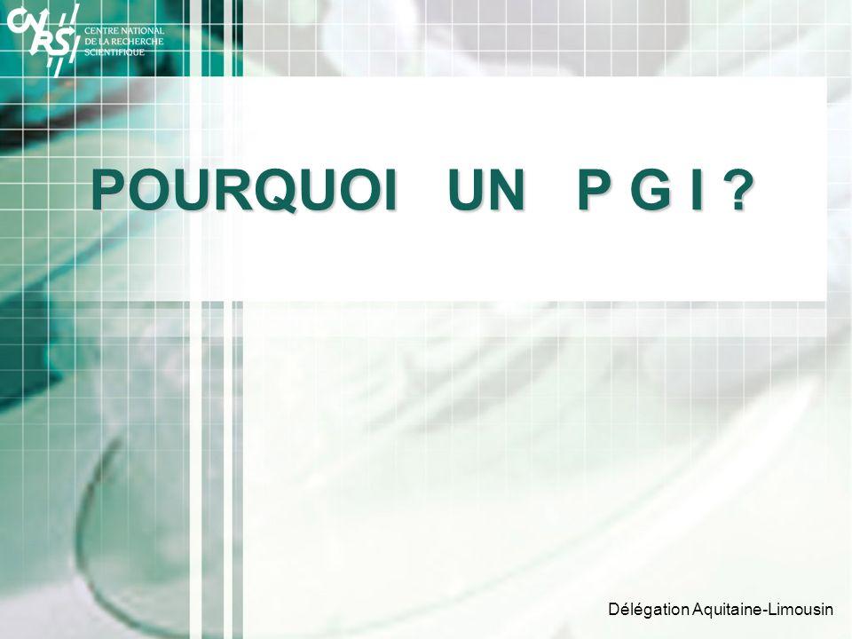Délégation Aquitaine-Limousin POURQUOI UN P G I ?