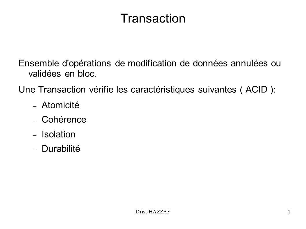 Driss HAZZAF1 Transaction Ensemble d'opérations de modification de données annulées ou validées en bloc. Une Transaction vérifie les caractéristiques
