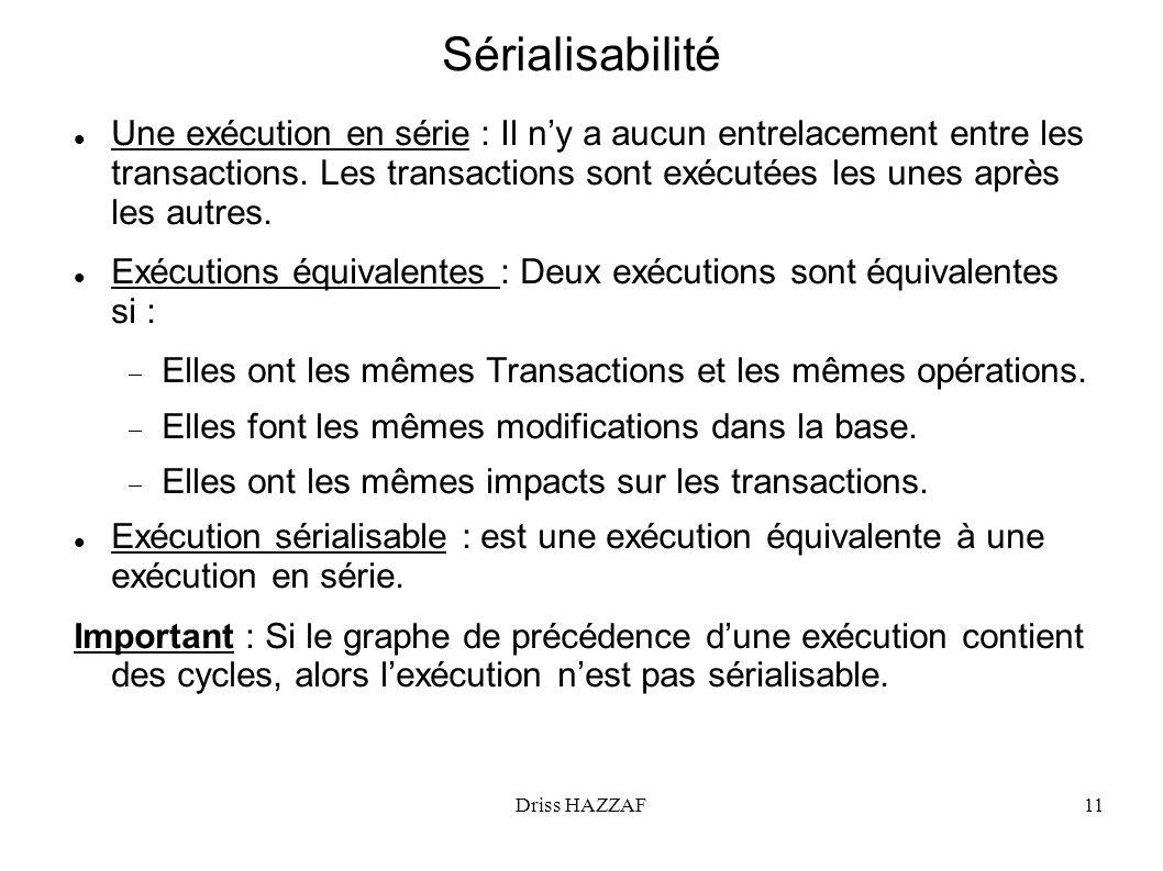 Driss HAZZAF11 Sérialisabilité Une exécution en série : Il ny a aucun entrelacement entre les transactions. Les transactions sont exécutées les unes a