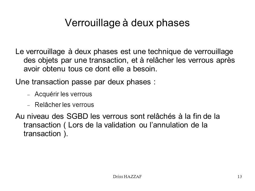 Driss HAZZAF13 Verrouillage à deux phases Le verrouillage à deux phases est une technique de verrouillage des objets par une transaction, et à relâche