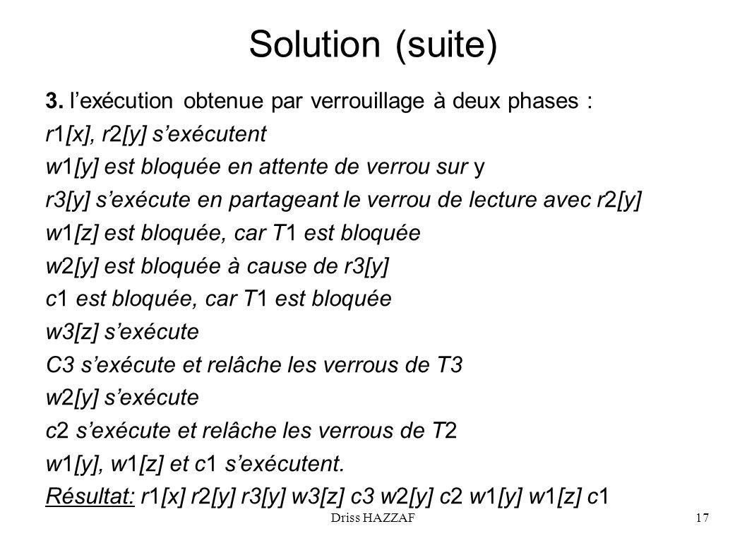 Driss HAZZAF17 Solution (suite) 3. lexécution obtenue par verrouillage à deux phases : r1[x], r2[y] sexécutent w1[y] est bloquée en attente de verrou