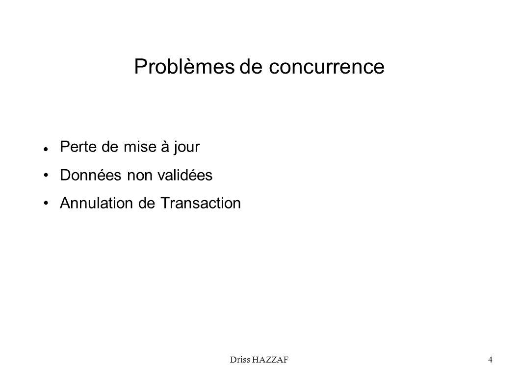 Driss HAZZAF4 Problèmes de concurrence Perte de mise à jour Données non validées Annulation de Transaction