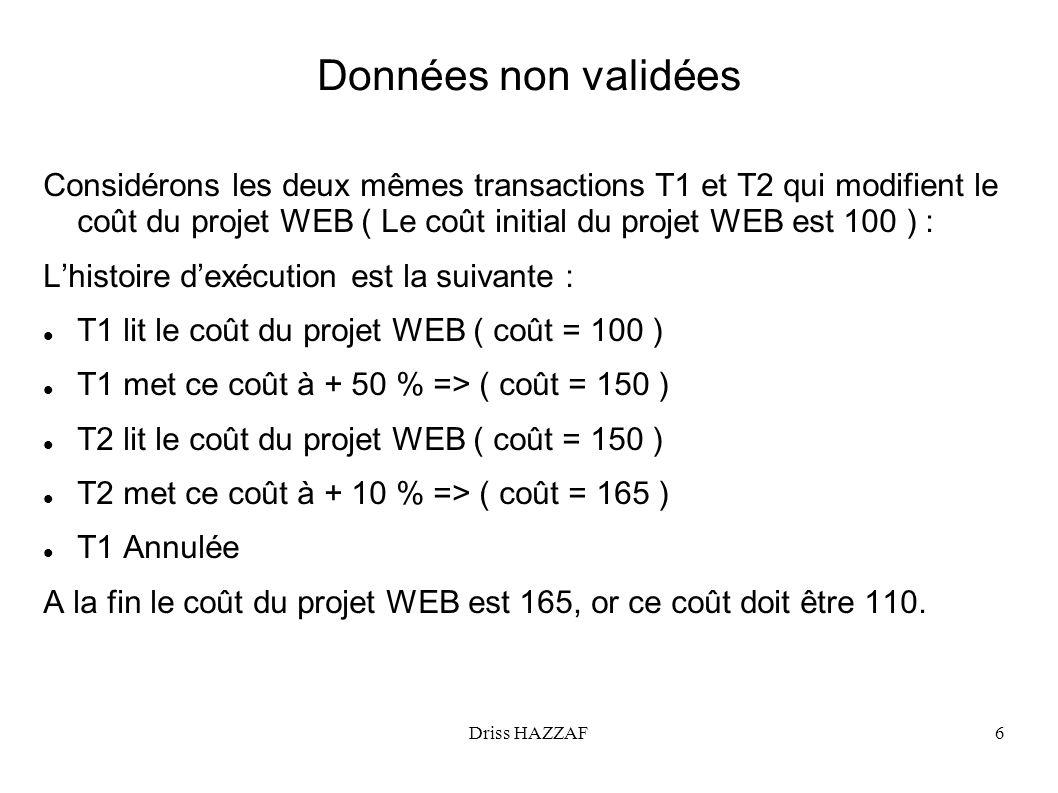 Driss HAZZAF6 Données non validées Considérons les deux mêmes transactions T1 et T2 qui modifient le coût du projet WEB ( Le coût initial du projet WE