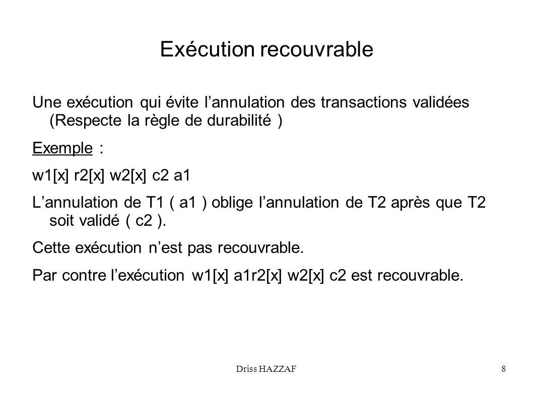 Driss HAZZAF9 Conflit Deux opérations O1 et O2 sont en conflit si elles ne sont pas permutables (lexécution O1, O2 na pas le même effet que O2,O1), et elles appartiennent à deux transactions différentes.