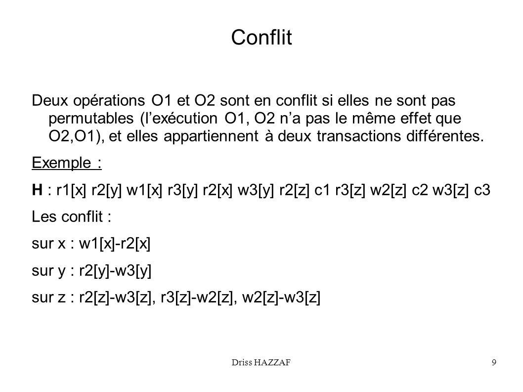 Driss HAZZAF9 Conflit Deux opérations O1 et O2 sont en conflit si elles ne sont pas permutables (lexécution O1, O2 na pas le même effet que O2,O1), et