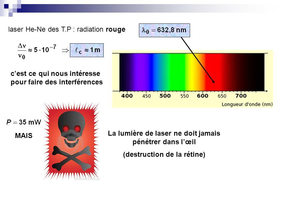 laser He-Ne des T.P : radiation rouge cest ce qui nous intéresse pour faire des interférences MAIS La lumière de laser ne doit jamais pénétrer dans lœ