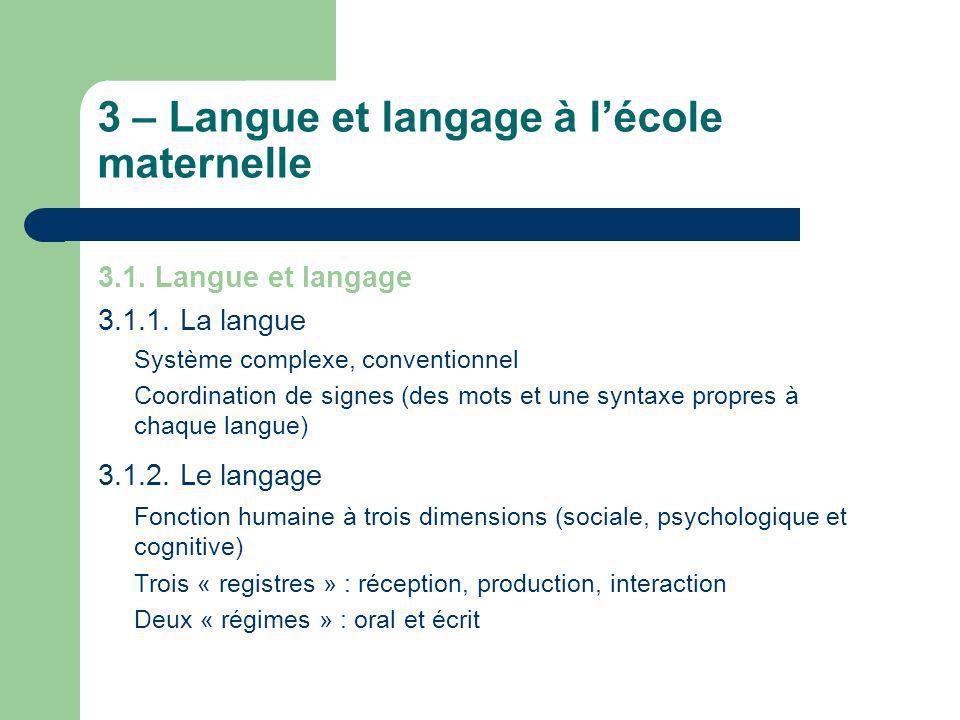 3 – Langue et langage à lécole maternelle 3.1. Langue et langage 3.1.1. La langue Système complexe, conventionnel Coordination de signes (des mots et