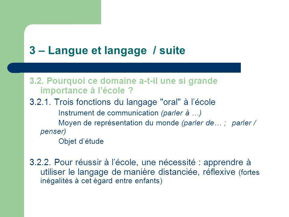 3 – Langue et langage / suite 3.2. Pourquoi ce domaine a-t-il une si grande importance à lécole ? 3.2.1. Trois fonctions du langage