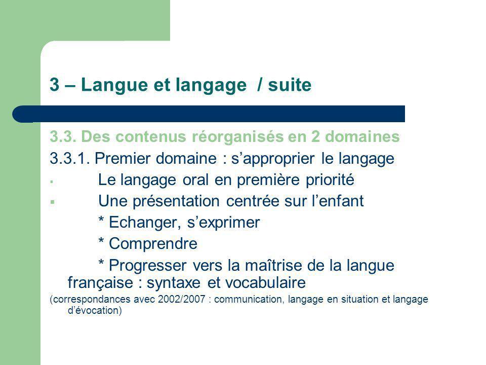 3 – Langue et langage / suite 3.3. Des contenus réorganisés en 2 domaines 3.3.1. Premier domaine : sapproprier le langage Le langage oral en première