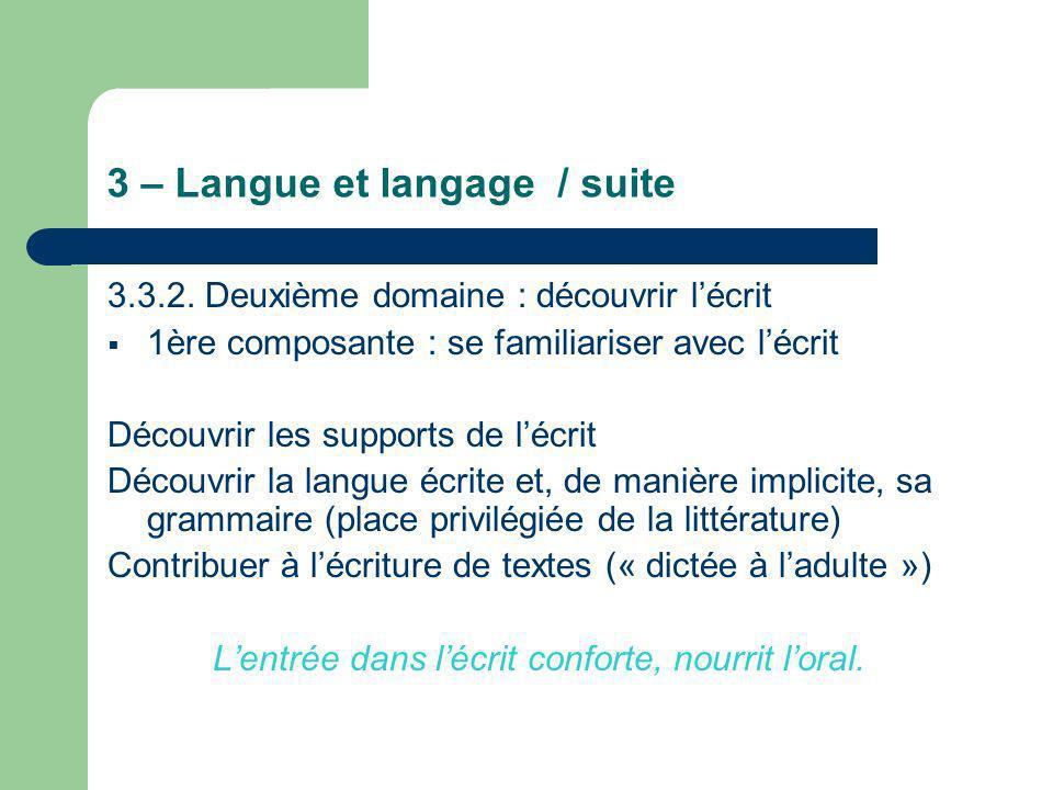3 – Langue et langage / suite 3.3.2. Deuxième domaine : découvrir lécrit 1ère composante : se familiariser avec lécrit Découvrir les supports de lécri