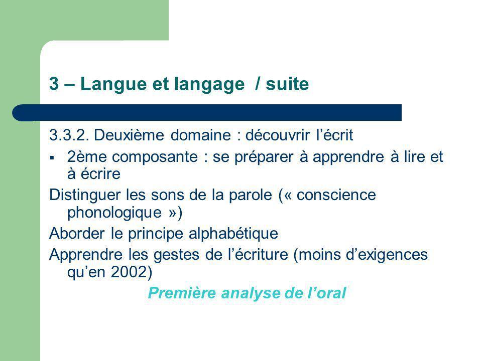 3 – Langue et langage / suite 3.3.2. Deuxième domaine : découvrir lécrit 2ème composante : se préparer à apprendre à lire et à écrire Distinguer les s