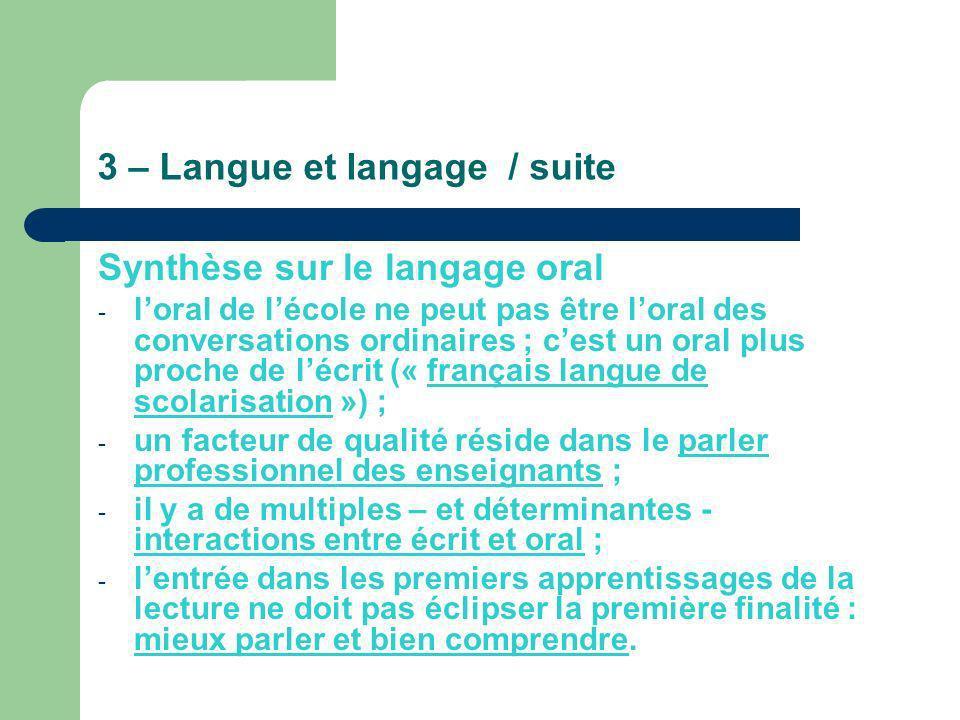 3 – Langue et langage / suite Synthèse sur le langage oral - loral de lécole ne peut pas être loral des conversations ordinaires ; cest un oral plus p