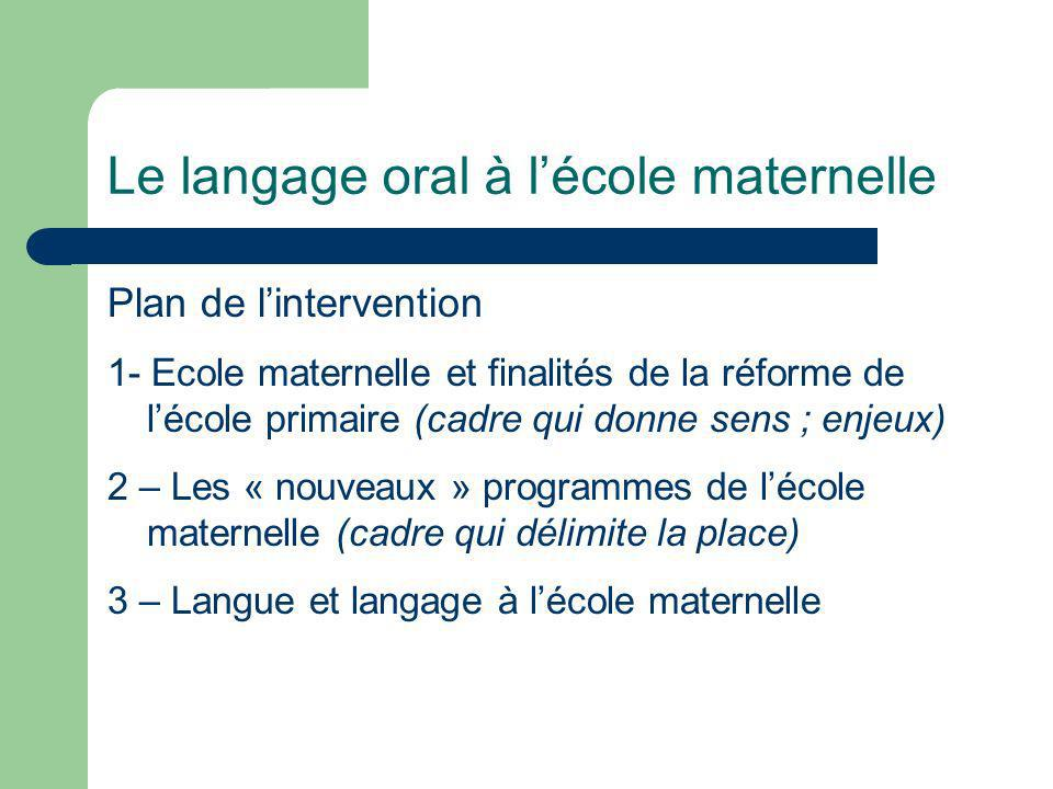 Le langage oral à lécole maternelle Plan de lintervention 1- Ecole maternelle et finalités de la réforme de lécole primaire (cadre qui donne sens ; en